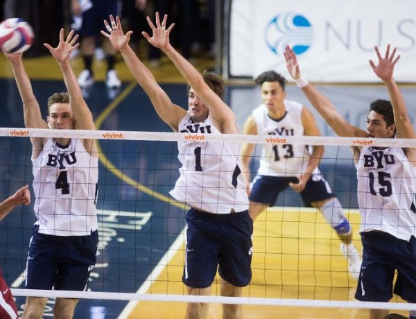 Leo Durkin, Price Jarman, and Brenden Sander elevate to block a shot against Stanford. All three players will return in 2017. (Natalie Stoker)