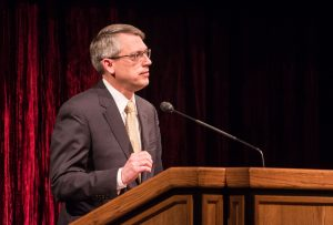 """Larry L. Howell spoke about the """"Anatomy of Intervention"""" at a BYU Forum on May 17, 2016. (Maddi Driggs)"""
