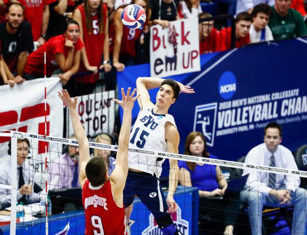 Brenden Sander prepares to spike the ball against Ohio State. The Cougars were swept by the Buckeyes in the national title game on Saturday. (BYU Photo)