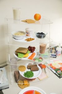 A display in BYU dietician and nutritionist Rachel Higginson's office showcasing proper meals. (Maddi Driggs)