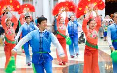 The International Folk Dance Ensemble perform a Chinese dance in Springfield, Illinois (Brigham Young University Performing Arts Management)