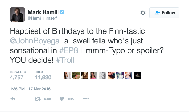 Mark Hamill composed this tweet for John