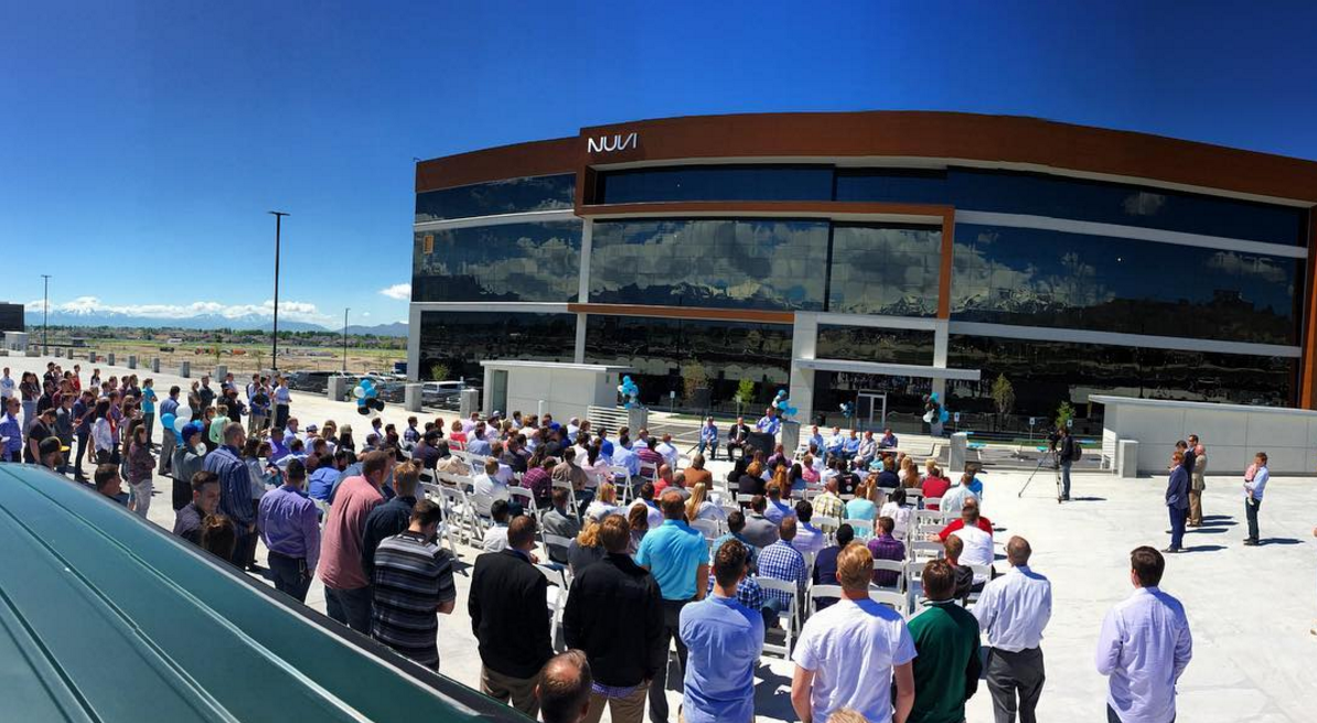 """NUVI celebrates it new headquarters facing the """"Silicon Slopes"""" in Lehi, Utah in 2016."""