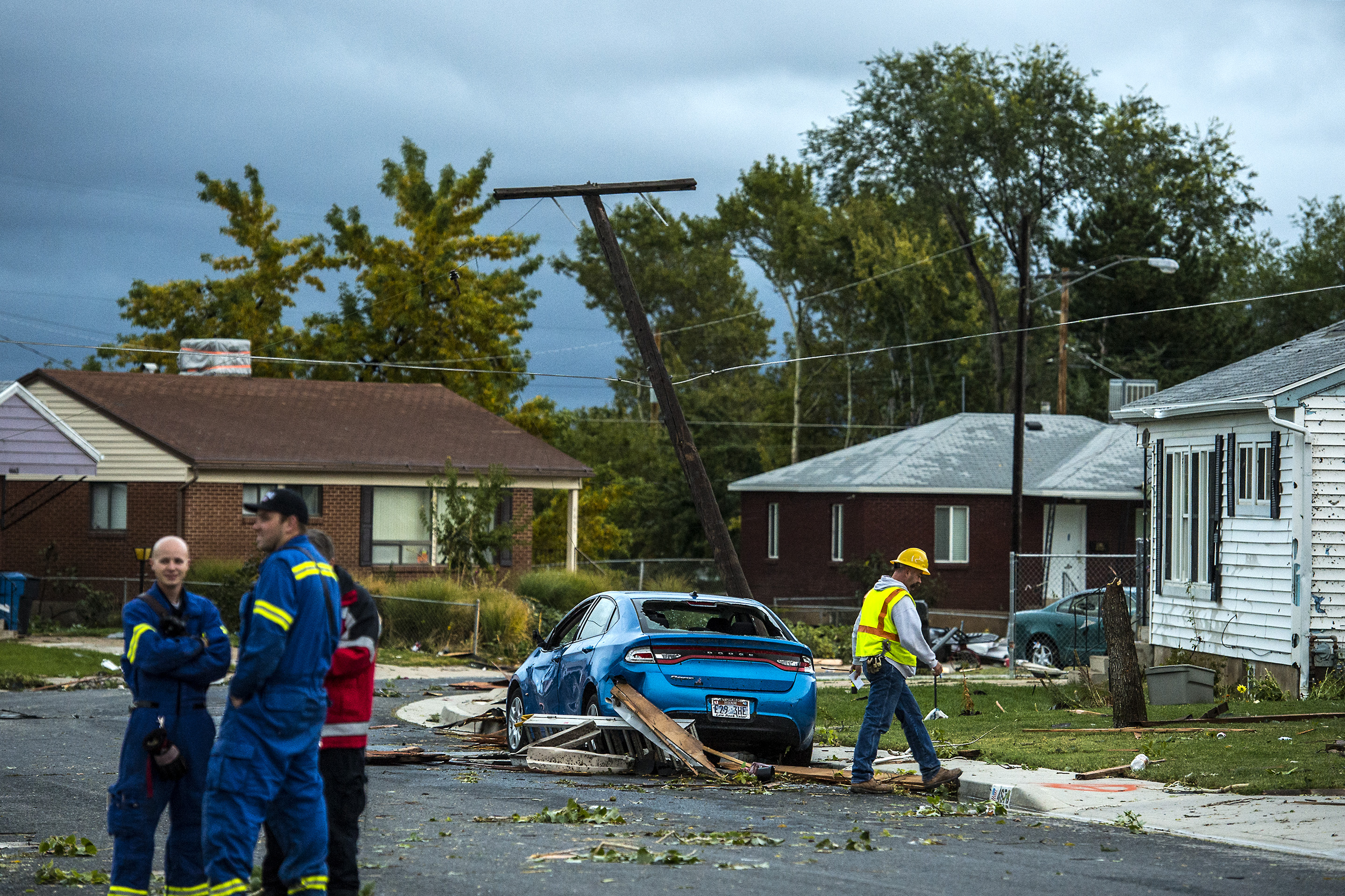 Damage caused from a tornado in Washington Terrace City, Utah, Thursday, Sept. 22, 2016. Other storms in the area that produced winds in excess of 70 mph caused damage to trees and other property near the city of Layton. That's about 15 miles south of Washington Terrace. (Chris Detrick/The Salt Lake Tribune via AP)
