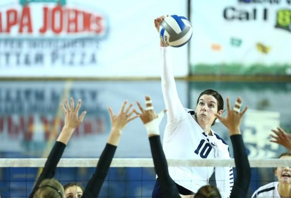 Amy Boswell spikes the ball last season. Boswell led the Cougars over Pepperdine. (BYU Photo)