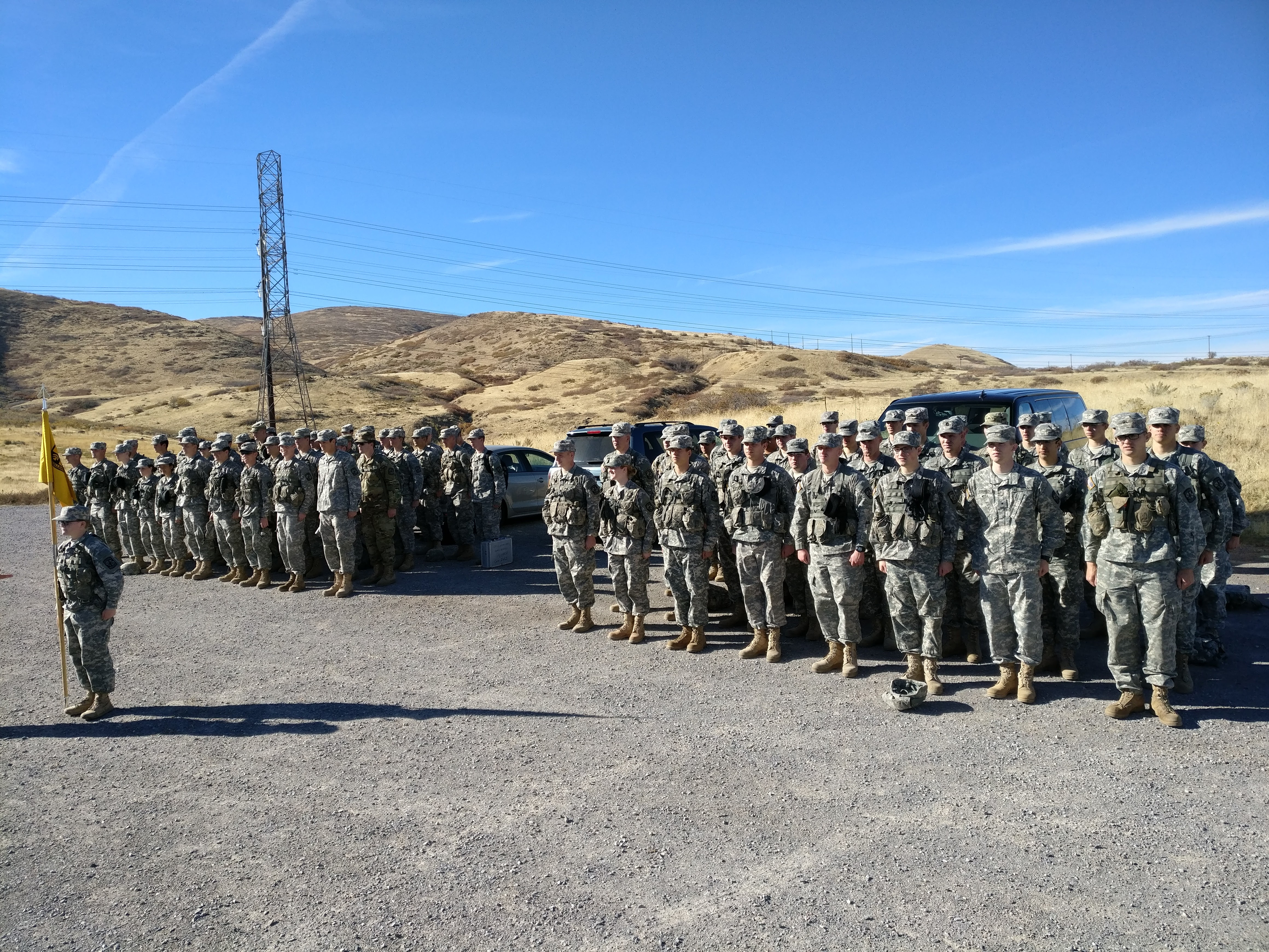 The Alpha Company of the BYU Army ROTC after the training lab for the helicopter event.