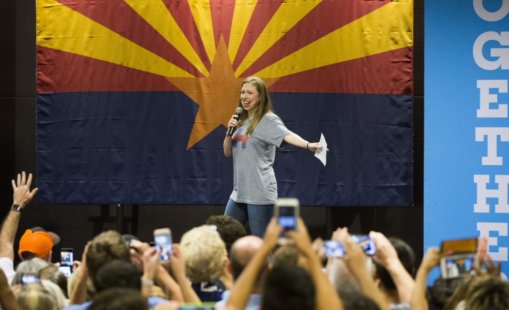 Chelsea Clinton speaks while campaigning for her mother, Democratic presidential nominee Hillary Clinton, Wednesday, Oct. 19, 2016 at Arizona State University in Tempe, Ariz. (Associated Press)