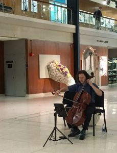 Matt Haimovitz performs in the Harris Fine Arts Center as one of three pop-up concerts. He was very impressed by the HFAC gallery's acoustics. (JoAnne Wadsworth)
