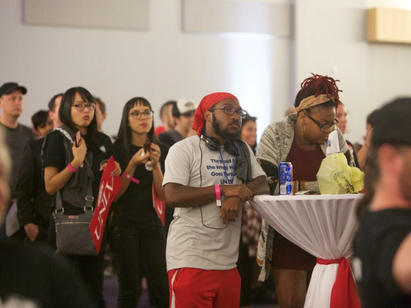 Students and community members observe the final presidential debate at the UNLV student watch party.