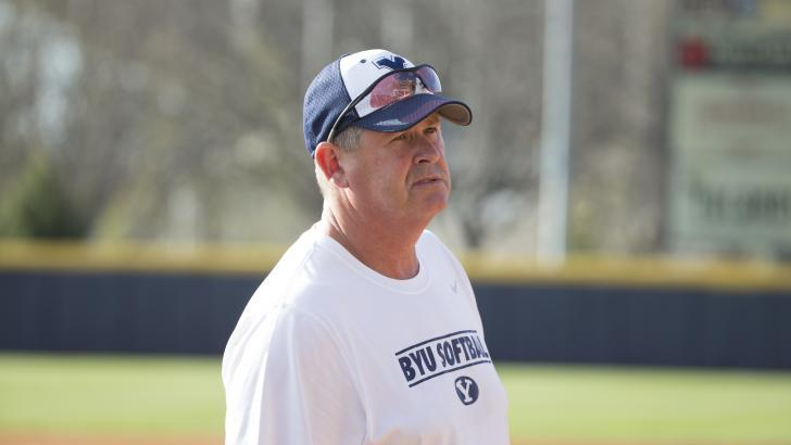 BYU softball assistant coach Pete Meredith watches practice at Gail Miller Field. Meredith was inducted into the USA National Softball Hall of Fame in 2016. (BYU Photo)