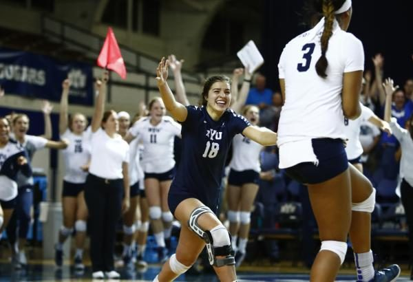 Mary Lake celebrates after a Cougar point. BYU is now 19-3 on the season. (BYU Photo)