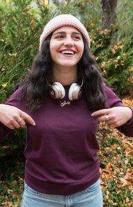 """Dalia Abu Al Haj's necklace means """"Palestine"""" in Arabic. (Maddi Driggs)"""