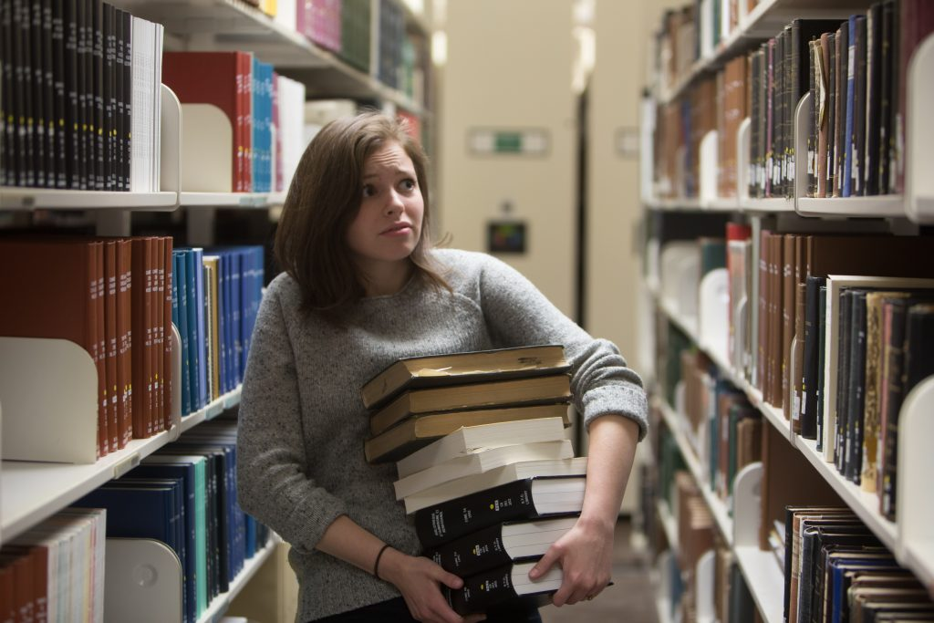 Hannah Webb felt overwhelmed at the prospect of writing a research paper initially. With the help of a librarian, she found the resources she needed. (Gianluca Cuestas)