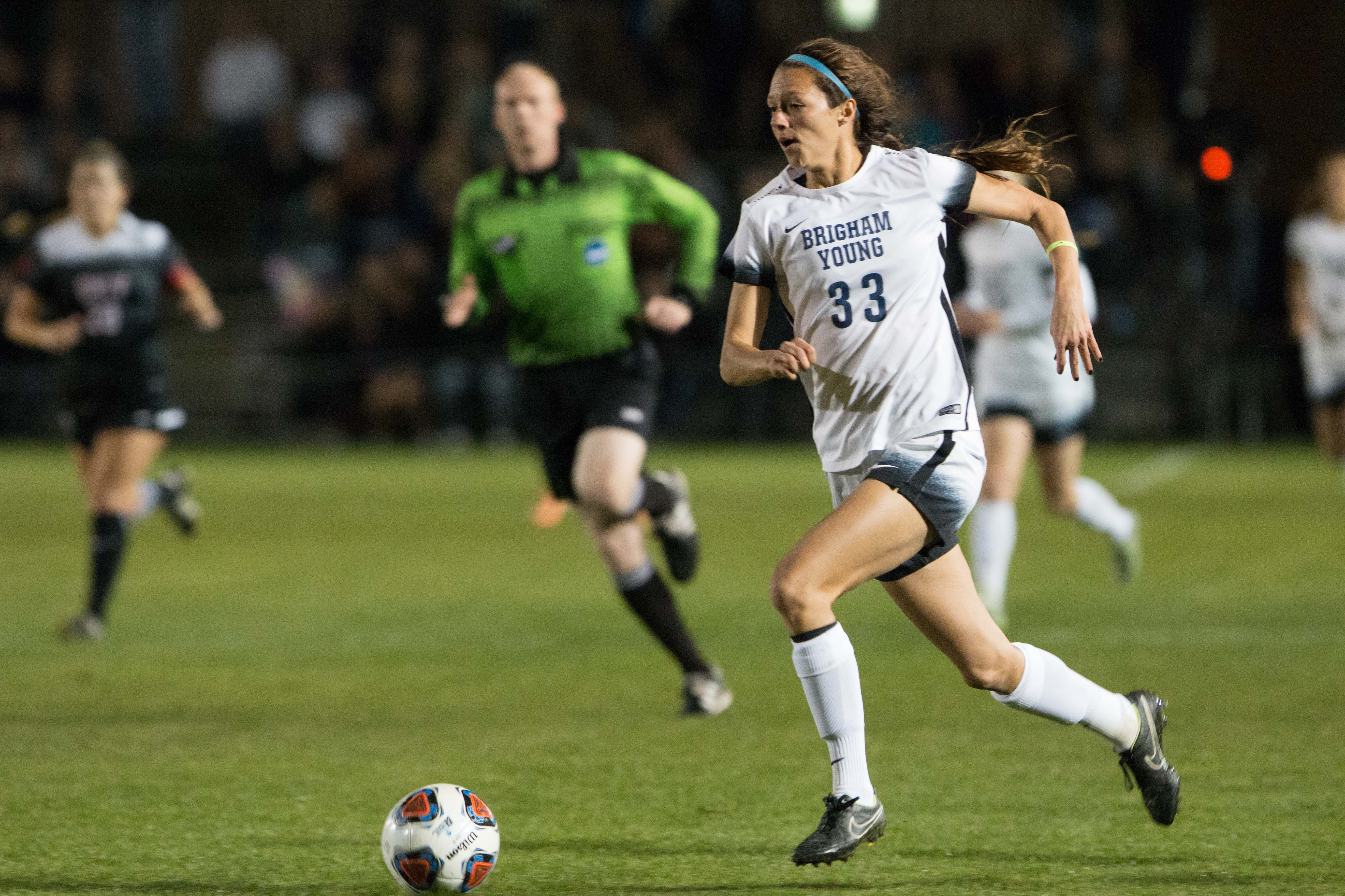 Ashley Hatch dribbles the ball in BYU's 2-0 win over UNLV. (Ryan Turner)