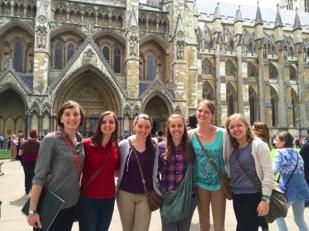 Claire Forste, Katie Benson, Ellen Brotherson, Lara Hollis and Lesli Mortensen stand outside of Westminster Cathedral. (Lesli Mortensen)