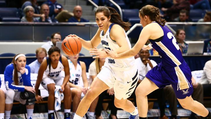 Kalani Purcell dribbles around a defender earlier this season. Purcell scored a team-high 16 points against Pepperdine. (BYU Photo)