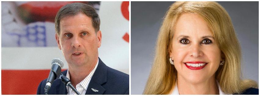 (Left) U.S. Rep. Chris Stewart; (right) Charlene Albarran