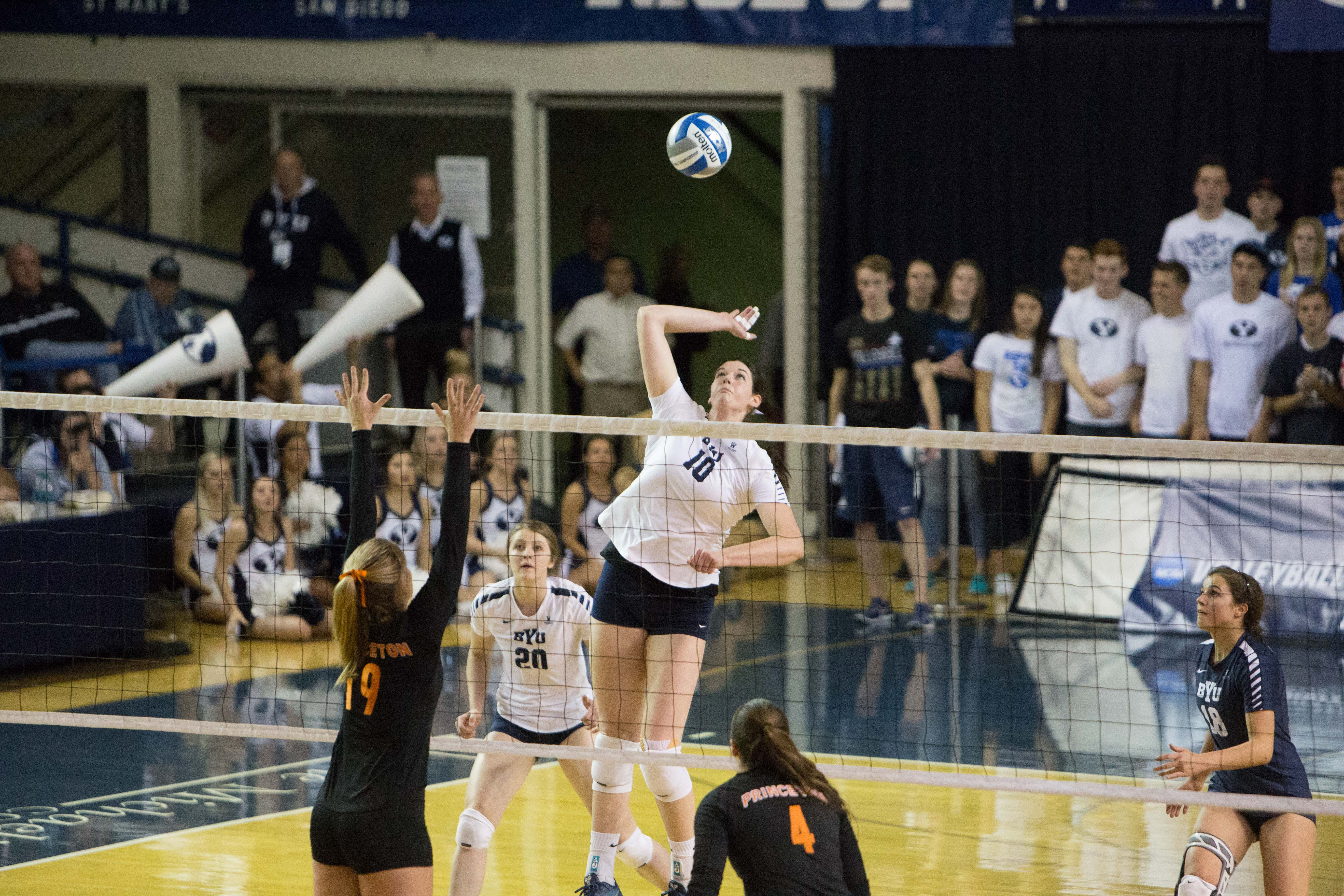 Amy Boswell spikes the ball against Princeton. Boswell and the Cougars swept the Tigers to advance in the NCAA tournament. (Gianluca Cuestas)