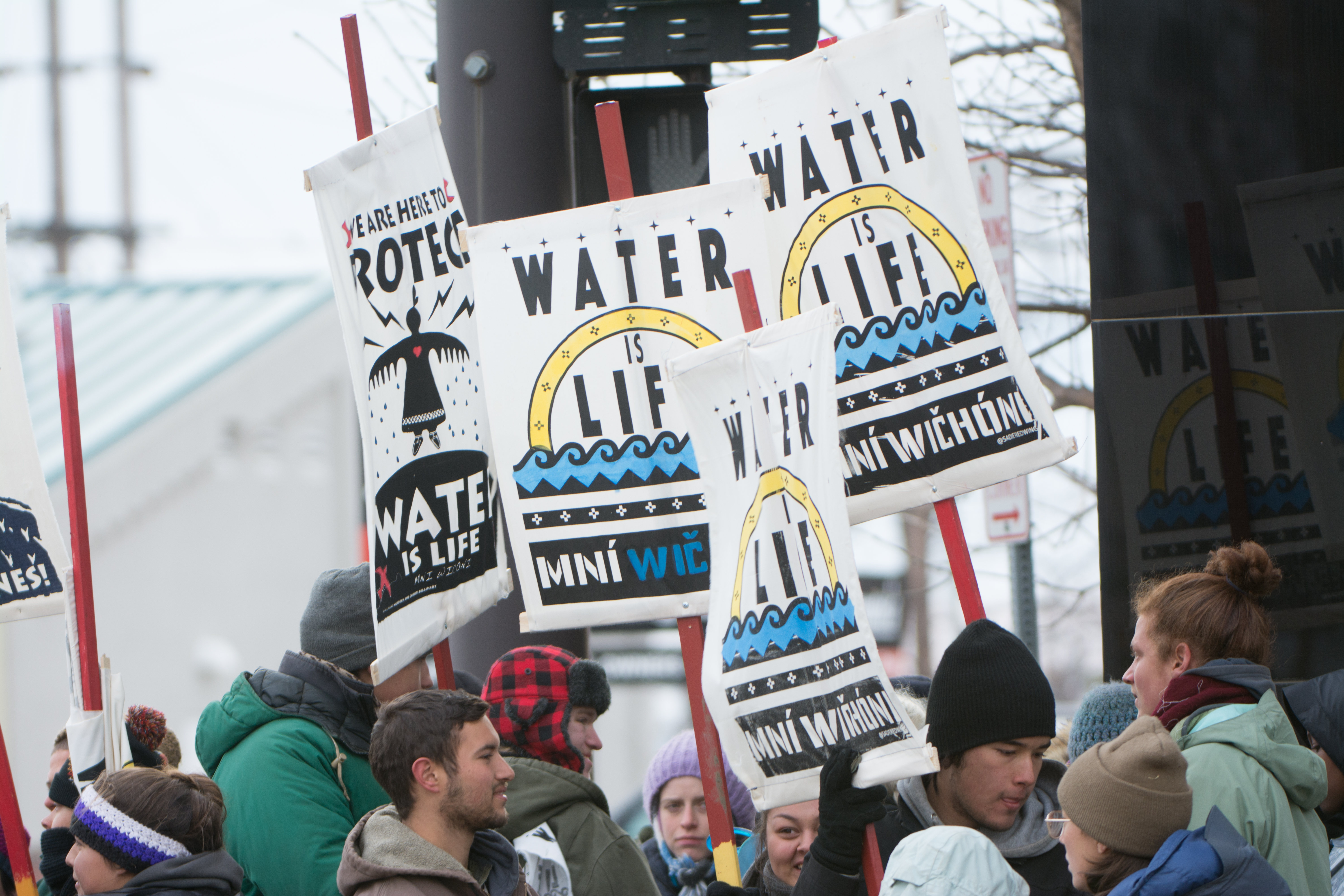"""""""Water is life,"""" or """"mni wiconi"""" in Lakota, is the rally cry for Standing Rock protesters. (Ryan Turner)"""