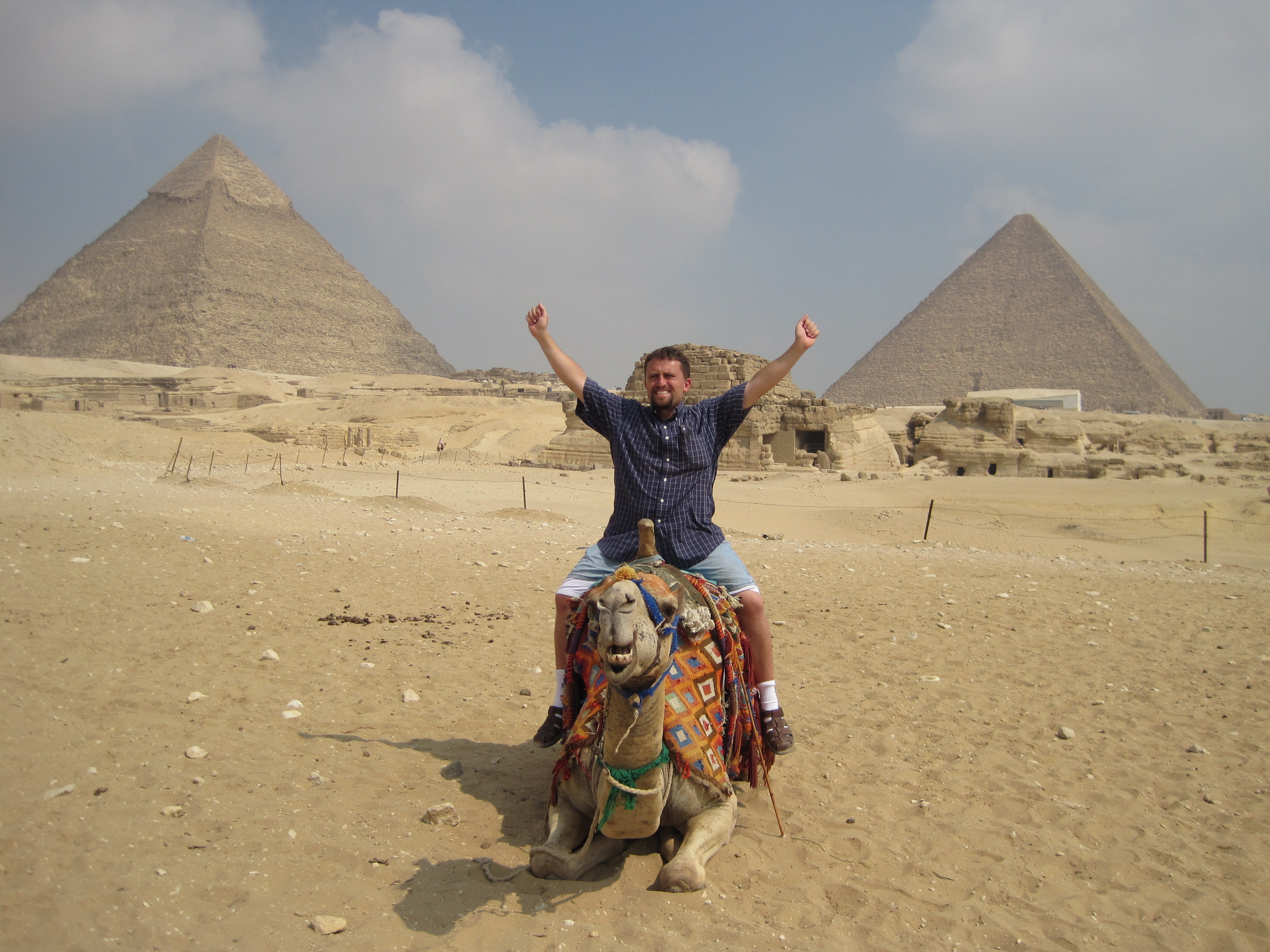 Nathaniel Lambert sit on a camel in Egypt. (Nathaniel Lambert)