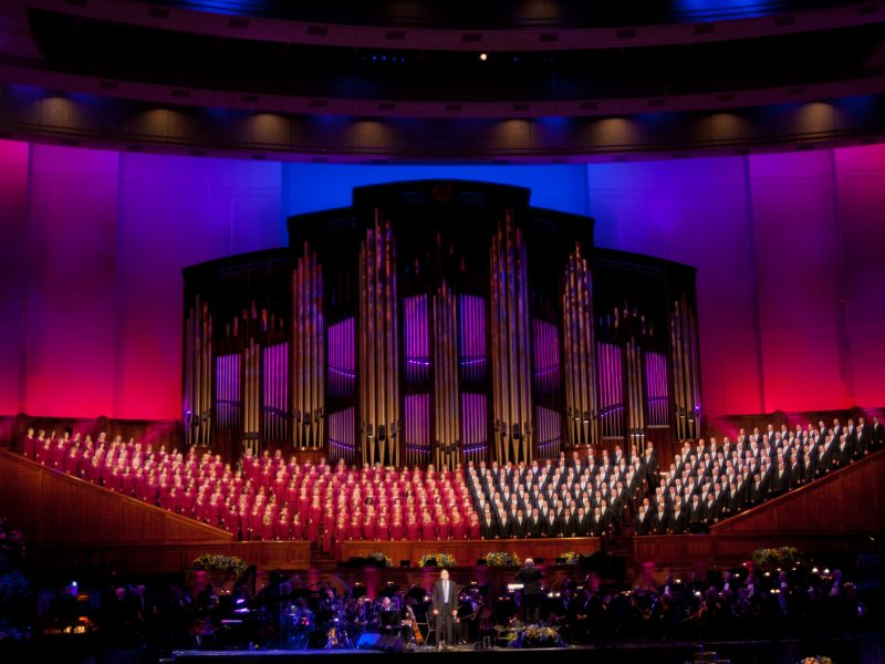 The Mormon Tabernacle Choir performs with James Taylor and the Utah Symphony Orchestra. The Mormon Tabernacle Choir has received praise and criticism for its decision to perform at President-elect Donald Trump's inauguration. (
