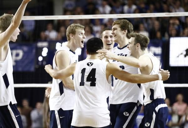 The Cougars celebrate after scoring a point earlier this season. BYU defeated CSUN on Thursday and Friday night. (BYU Photo)