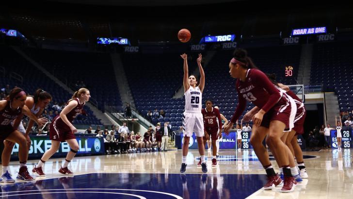 Cassie Broadhead shoots a free throw earlier this season. Broadhead scored 25 in BYU's loss on Saturday. (BYU Photo)