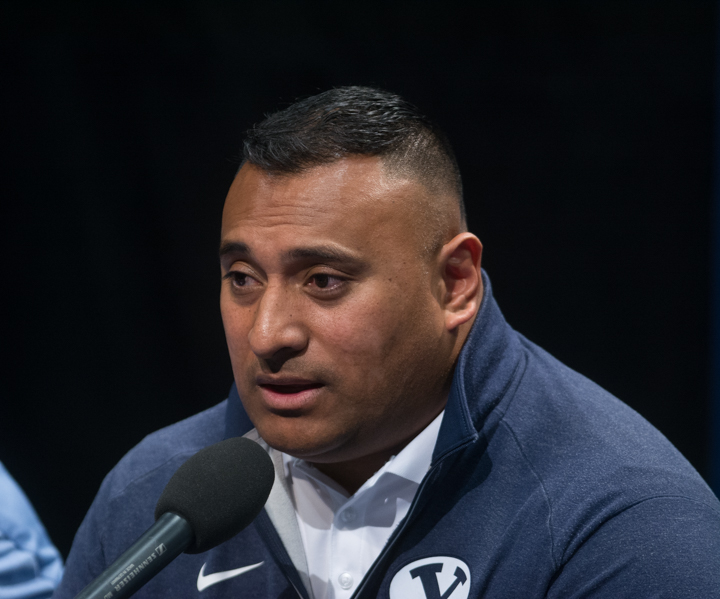 BYU head football coach Kalani Sitake at the Signing Day press conference. Sitake and the Cougars added 24 players to the roster on Tuesday. (Ryan Turner)