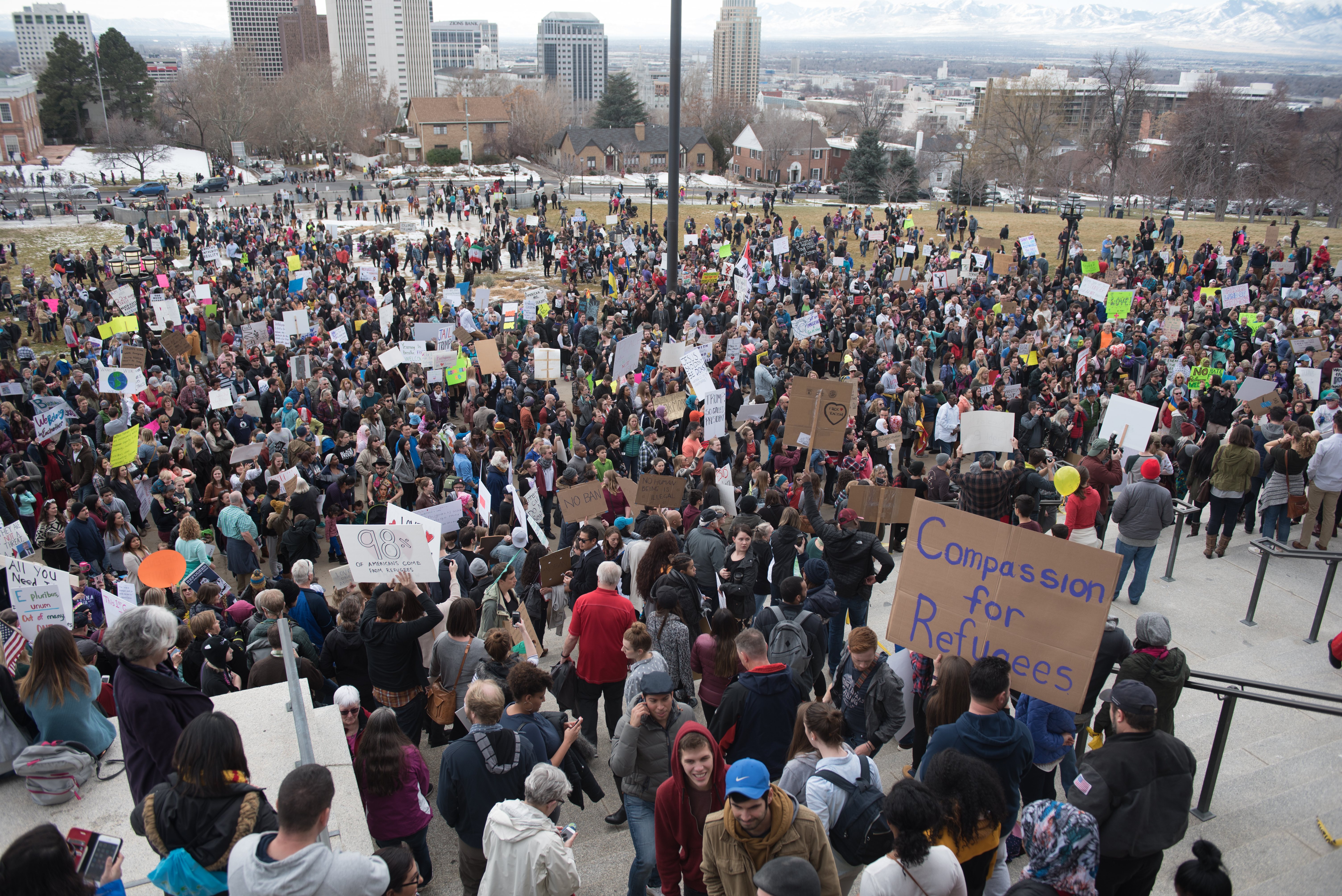 Marchers gather in front of the Utah State Capitol to show support for Muslims and refugees Saturday, Feb. 4. (Ryan Turner)