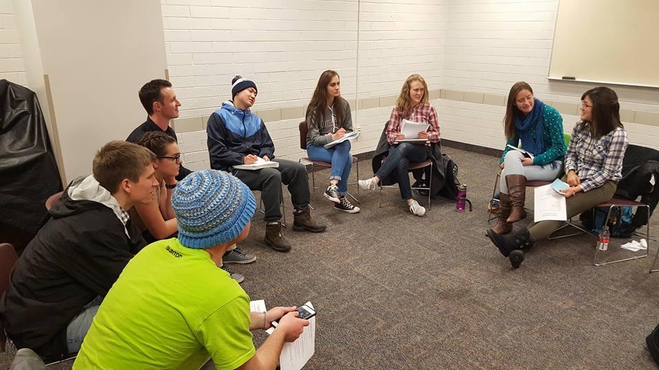 Leadership members from Unraveling Porngrphy club meet.