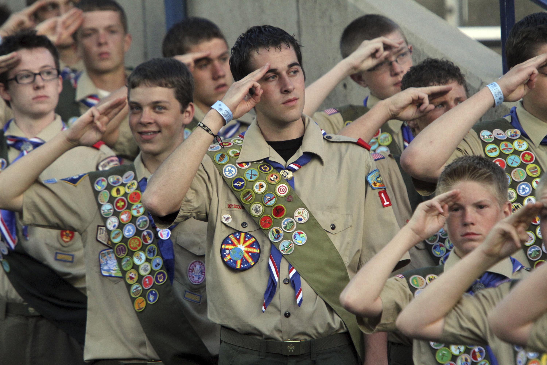 Mormon boy scouts saluting