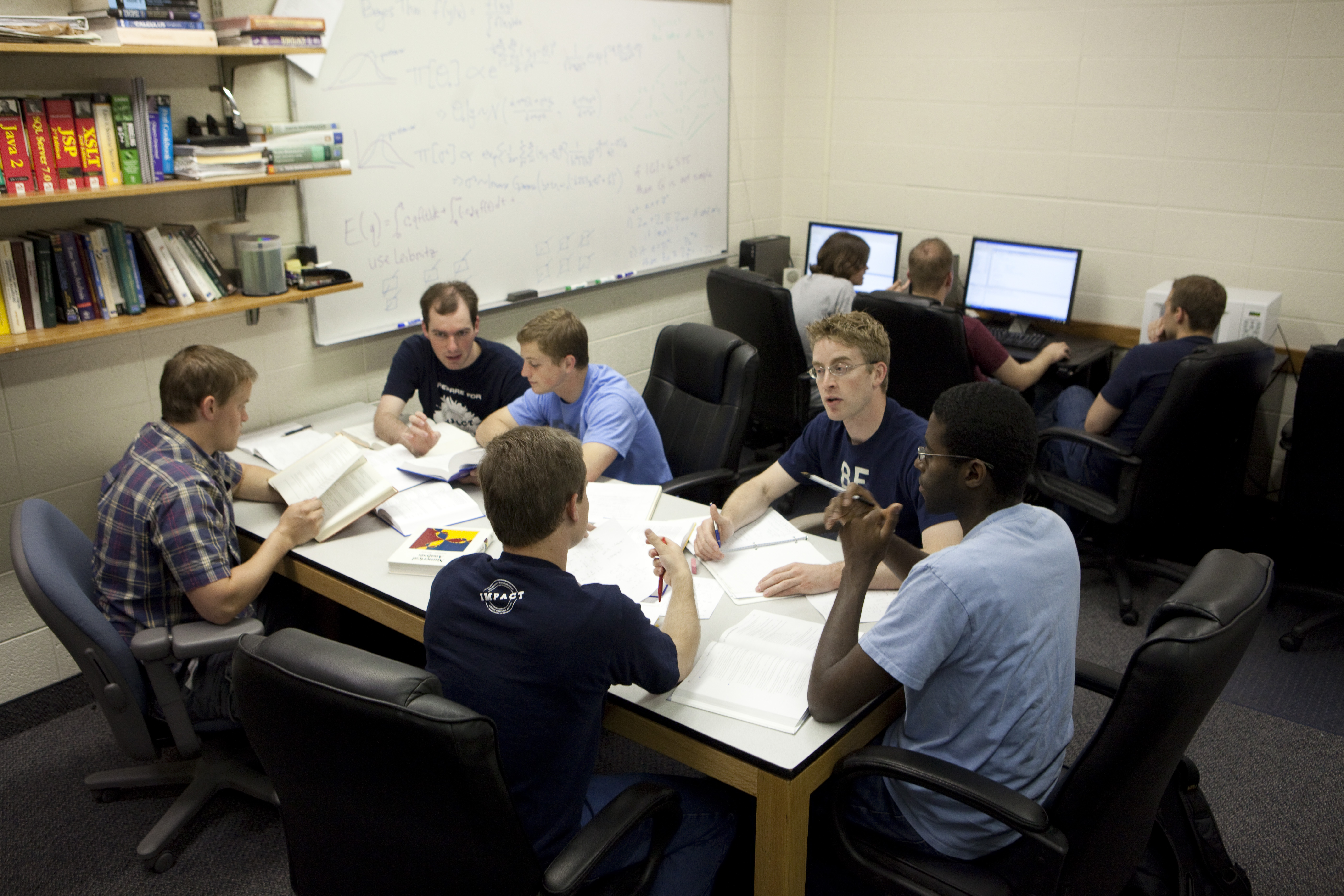 Students in the IMPACT program working on assignments and computer labs by Jaren Wilkey/BYU.