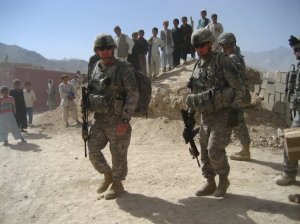 Col. David B. Haight and CSM Del Byers on patrol in Afghanistan during their unit's year-long deployment from 2008 to 2009