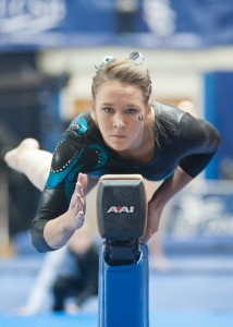 BYU gymnast Ashley Follett competes on beam.