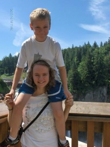 Kendall and her brother at Snoqualmie Falls, Washington. Photo courtesy Christine Kendall.
