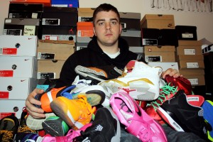 Kyle Rose with his Nike shoe collection.
