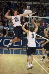 Ryan Boyce sets it up for middle blocker Michael Hatch at fridays game against Pacific. 2/22/13 Whitnie Soelberg