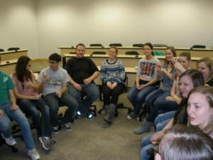 Students participate in an ASL game during an club meeting (Photo courtesy ASL club Facebook page)