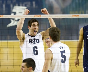 Josue Rivera and Rusty Lavaja celebrate a point in BYU's win over Cal Baptist. (Photo by Sarah Hill)