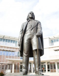 The statue of BYU's founding father was unveiled  on Nov. 4, 1961 as a part of that year's Homecoming celebration. Even then he was beardless. (Photo by Sarah Hill)