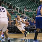 Lexi Eaton charges toward the basket in the game against Creighton earlier this season. (Photo courtesy BYU Photo)