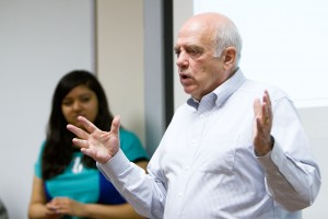 Warner Woodworth, professor of Microfinance, adressed students at the first meeting of the BYU Microfinance Club. (photo by Sarah Hill)