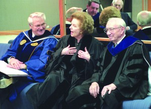President Merrill J. Bateman and President Gordon B. Hinckley sit with Margrett Thacher before Mrs. Thacher receives an honorary doctorate.
