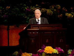 Elder Richard G. Scott speaks during the Saturday afternoon session of the 183rd General Conference. (Photo by Sarah Hill)