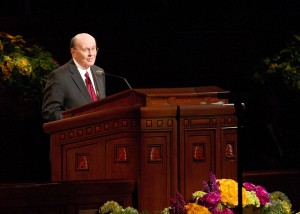 Elder Quinten L. Cook speaks during the Saturday afternoon session of the 183rd General Conference.