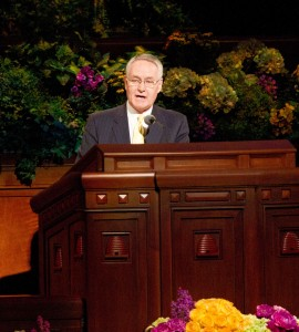 Elder Stanley G. Ellis speaks during the Saturday afternoon session of the 183rd General Conference. (Photo by Sarah Hill)