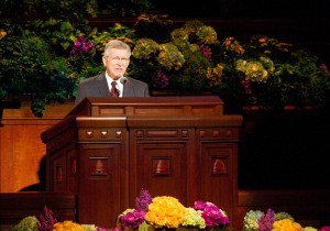 Elder John B. Dickson speaks during the Saturday afternoon session of the 183rd General Conference. (Photo by Sarah Hill)