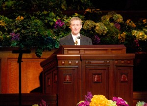 Elder David A. Bednar speaks during the Saturday afternoon session of the 183rd General Conference. (Photo by Sarah Hill)