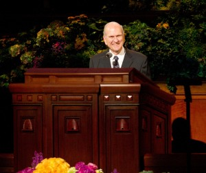 Elder Russell M. Nelson speaks during the Saturday afternoon session of the 183rd General Conference. (Photo by Sarah Hill)