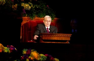 President Boyd K. Packer speaks at the Saturday morning session of the 183rd General Conference. (Photo by Sarah Hill)